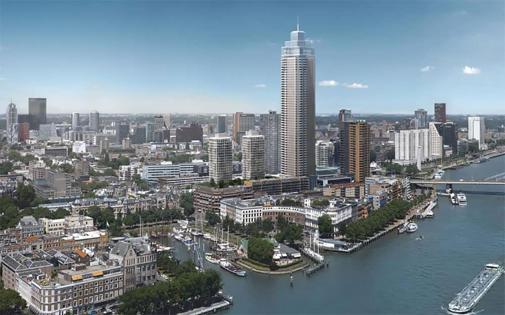 Artist impression of the Zalmhaven Tower in Rotterdam