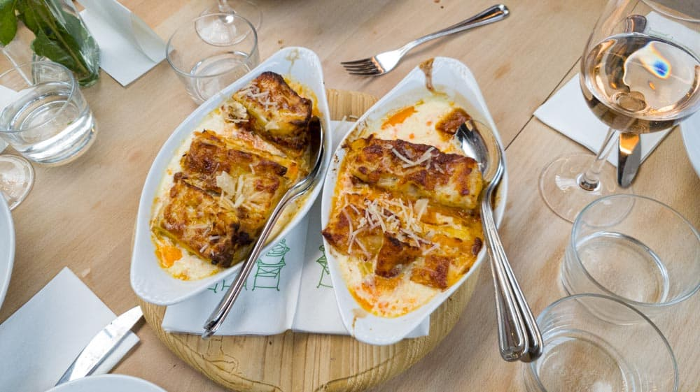 Lasagna with pumpkin and spicy spianata