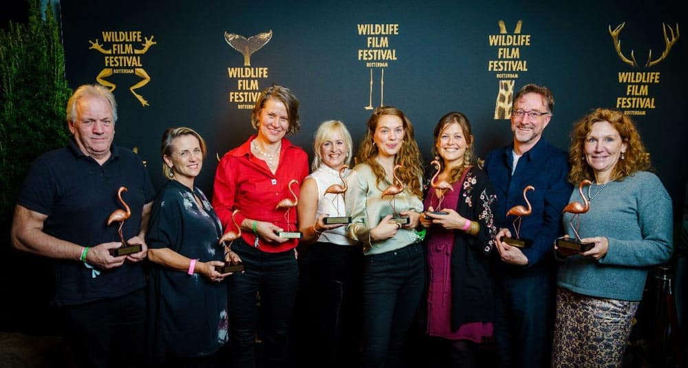 The winners of the 2019 Flamingo Awards at Wildlife Film Festival Rotterdam 📷 Marco de Swart