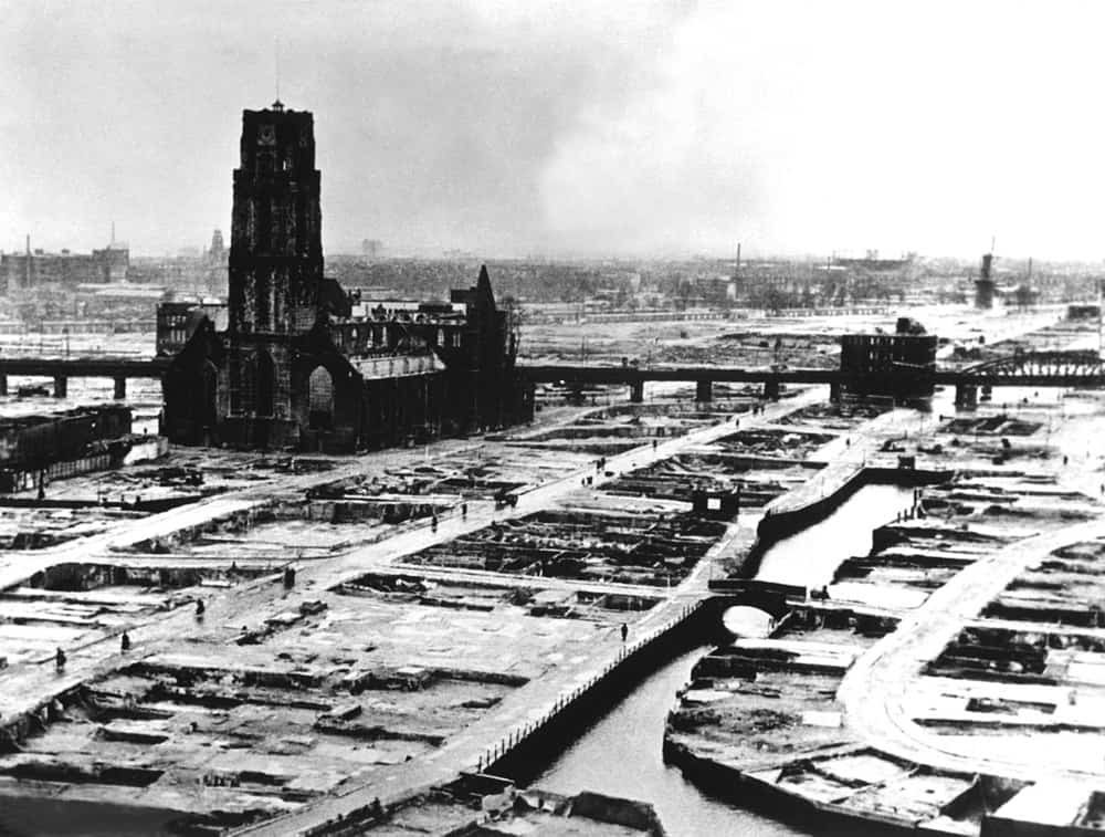 Rotterdam's Laurenskerk stands alone after the Nazi bombardment in May 1940