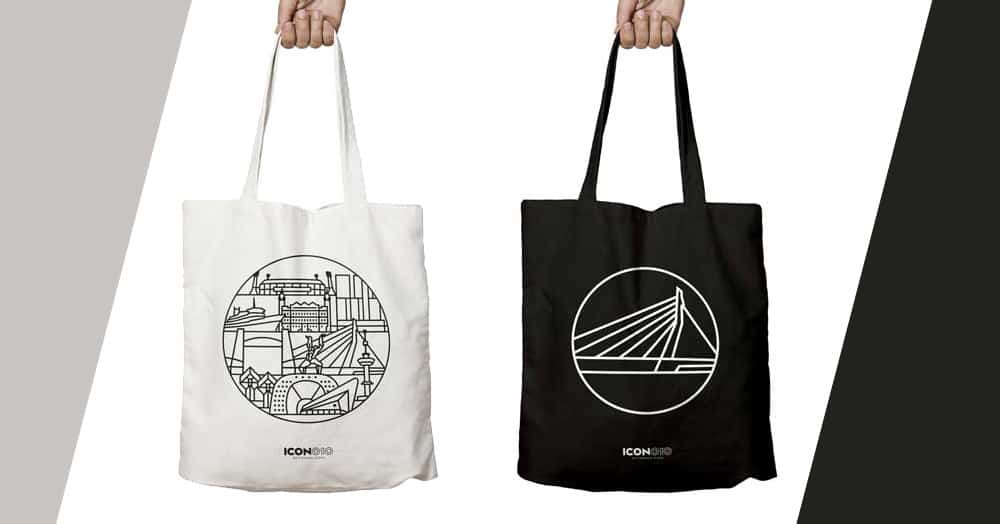 Rotterdam-themed tote bags and rucksacks