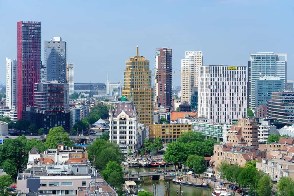 Rotterdam's skyline with its skyscrapers